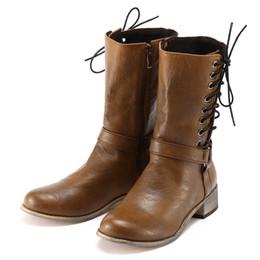 MUQGEW Outono e inverno plano com as botas de neve Mulheres Retro Sapato De Couro PU Não-Deslizamento Rodada Toe Desgaste Médio Botas cheap women wearing flat boots de Fornecedores de mulheres usando botas planas