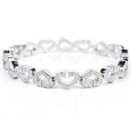 Wholesale C Clasp - 18K White Gold Diamond C Heart Bracelet 18cm