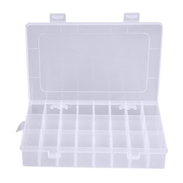 Wholesale plastic medical container - 1pcs Clear Storage Box 24 Compartments Plastic Jewelry Pills Storage Boxes Bins Organizer Container Home Organization