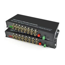 video análogo Rebajas 16 canales de video digital de fibra óptica convertidores de medios transmisor receptor con datos RS485 -para cámaras analógicas de circuito cerrado de televisión