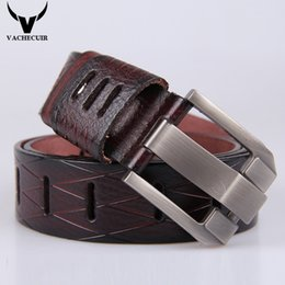 Wholesale First Class Luxury - VACHECUIR Best Quality First Class Real Genuine Leather Mens Hollow Designer Belt Men Luxury Alloy Buckle Belts Length 105-135cm