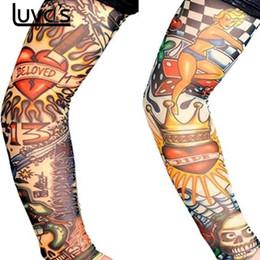 Argentina LUVCLS 6 unids Proteger la piel de nylon elástico falso tatuaje mangas Brazo Medias Diseño Cuerpo Fresco Hombres Unisex Moda Brazo calentador caliente supplier unisex tattoo designs Suministro