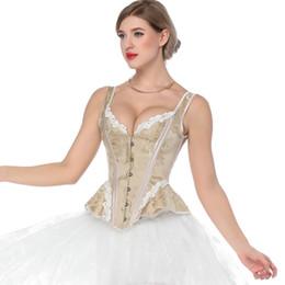 victorian corset xl Rebajas Retro Victorian Corset Steampunk Floral Corsé deshuesado Tops Mujeres Correa de encaje Slim Bustiers Gothic Lace Up Corselet