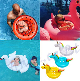 Wholesale Swimming Baby Rings - Kids Float Seat Boat Baby Inflatable Flamingo Unicorn Swan Watermelon Swim Seat Swimming Ring Pool Water Fun Underwater Toy AAA132