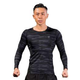 Collant verde camouflage online-T-shirt lunga da allenamento mimetica verde poliestere 2018 T-shirt manica lunga con maniche ad asciugatura rapida