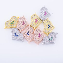 Wholesale Diy Earring Connectors - Wholesale Handmade Jewelry DIY Finding Accessories Micro Pave Heart Bracelets Necklace Charms Earrings Connectors Clasps Components Fittings