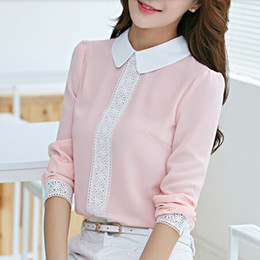 Wholesale Peter Pan Collar Chiffon Top - Autumn Peter pan collar chiffon blouse, Women's long sleeve Lace Crochet top blouses, women pink blusas shirts