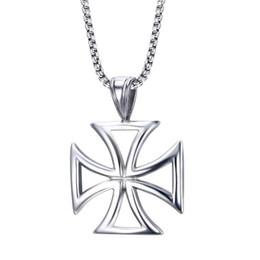 Biker halsketten online-Herren Halskette Edelstahl Vintage Hohl Tempelritter Eisernes Kreuz Anhänger Halskette für Männer Biker Malteserkreuz Schmuck