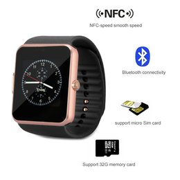 Wholesale Camera Control Box - GT08 Bluetooth Smartwatch With SIM Card Slot NFC Health Watches For Android Samsung And Apple iPhone Smartphone Smart Watches With Box