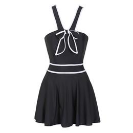 Женщина купальник одно платье онлайн-Сексуальный черный белый с бантом цельный купальник женщин плюс размер платья юбка высокая талия пуш-ап купальники