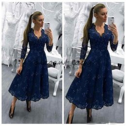 Wholesale Wedding Dress Lace Feathers Satin - 2018 Mother Of The Bride Dresses V Neck Navy Blue Long Sleeves Lace Appliques Beaded Wedding Guest Dress Tea Length Evening Gowns