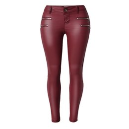 Wholesale Long Faux Leather Pants - 2016 Hot Sexy European and American Style Women Low Waist Slim PU Leather Double Zipper Leather Pants Long Lady Plus Size S1520