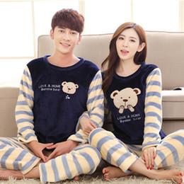 Wholesale woman s christmas pajamas - 2016 Men Women Flannel Pajamas Couple Pyjama Suits Winter Garment Sleepwear Nightclothes Thick Christmas Gift Stripe Bear