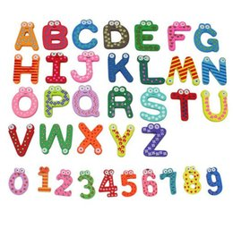 Wholesale Wooden Toys Magnets - 36x Colorful Cartoon Design Wooden Letters Numbers Refrigerator Fridge Magnets Teaching Alphabet Kids Toys