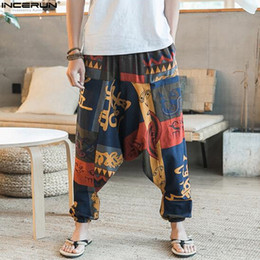 pantaloni punk baggy Sconti INCERUN pantaloni cross-pants uomo hip hop danza pantaloni larghi punk larghi pantaloni di lino casual uomini stile cinese harem 4XL 5XL