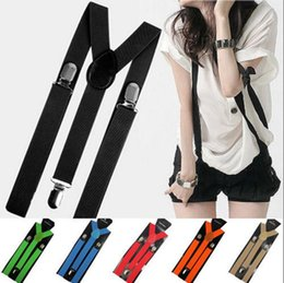 Wholesale candy suspenders - Candy Color Adujstable Braces Clip-on Suspenders Elastic Slim Y-back Suspenders Men Women Adjustable Pants Suspender OOA4093