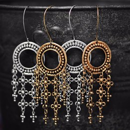 Wholesale American Fine Arts - Creative New Retro Dangle Earrings European and American Fine Arts and Crafts Metal Hollow Pattern Earrings Fashion Women Girls Jewelry Gift