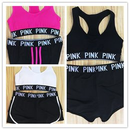 Wholesale Bras Girl - new PINK Tracksuit girl Summer Sport Wear Cotton Yoga Suit Fitness Bra Shorts Gym Top Vest Pants Running Underwear Sets Runner Outfits