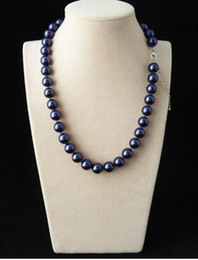 """Wholesale South Sea Shell Pearls Wholesale - 10mm Genuine Blue South Sea Shell Pearl Round Beaded Necklace 18"""""""