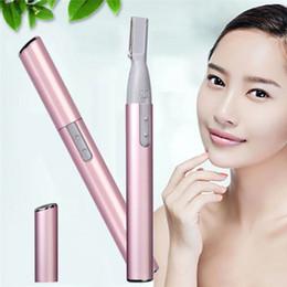 Wholesale Electric Razor Blades - Pink Color Practical Electric Face Eyebrow Scissors Hair Trimmer Mini Portable Women Body Shaver Remover Blade Razor Epilator