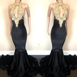 open front mermaid dress Coupons - Sexy Open Back Sparkling Gold Sequins Appliques Prom Dresses Mermaid Halter Neck Keyhole Front Long Evening Gowns BA8429