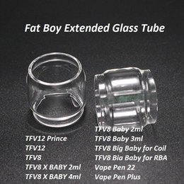 Wholesale big fats - Bulb Extended Fat Boy Replacement Glass Tube for TFV12 prince TFV8 X Baby TFV8 Big Baby Vape Pen 22 Plus DHL FREE