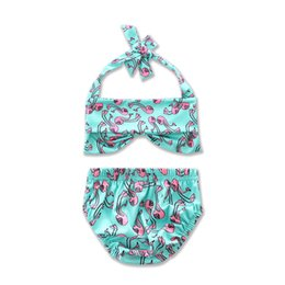 Wholesale Hanging Girls Neck - INS Mint Green Tops Pink Animal Printed Halter Hanging Neck Tops and Flower Triangle Briefs Two-pieces Beachwear Baby Girls Split Swimsuits