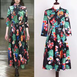 d993527c41fa HIGH QUALITY Designer Runway Beading Bird Butterfly Shirt Dresses Women Long  Sleeve Floral Leaves Ananas Comosus Print Dress Plus Size XXXL