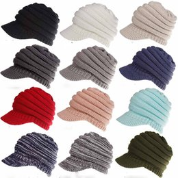 Wholesale brim snapbacks - 12colors Women Knitted CC ponytail caps Winter Warm Beret Hat Crochet Ski Baseball Beanie Brim Cap lady hats FFA570 16PCS