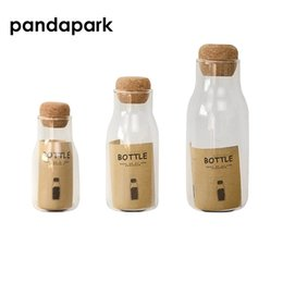 Wholesale glass jars storage cork - Pandapark 150ML 300ML 600ML Storage Jar Heat Resistant Glass Cork Storage Bottle Tank Tea Pot Seasoning Pot PPM019