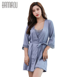 Sexy Solid Woman Robe Gowns Set 2 Piece Silk High Quality New Spring Summer Female  Home Clothing Suit Bathrobes Sleep Dress 2018 e68fe6a79