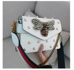Wholesale Red White Stripe Bead - SALE !! Fashion Vintage Handbags Women bags Designer Handbags pearl decorative Genuine Leather Chain Bag Crossbody and Shoulder Bags