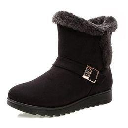 Женские сапоги 2018 Мода теплый снег сапоги лодыжки зимние сапоги для женщин обувь черный плюс размер с нами 5-10 от Поставщики добавить долго
