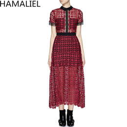94f3623d4ca3 Water Soluble Lace Summer Women Runway Midi Dress 2018 Self Portrait Wine  Red Patchwork Hollow Out Lace Sexy Short Sleeve Dress