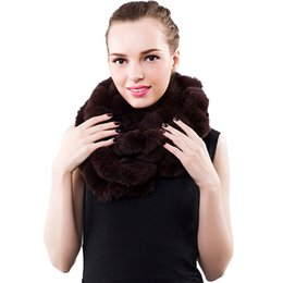 Wholesale Black Rex Rabbit Fur Scarf - Women Real Fur Scarves Knitted Rex Rabbit Fur Fashion Luxury Brand New Shawl Scarvf Solid Black White Color Russian Winter Scarf