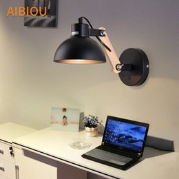 Wholesale wall mount reading lights - AIBIOU Ajustable Led Wall Lights For Bedroom Nordic Style E27 Black Wall Sconce Designer Wooden Mounted Reading Light