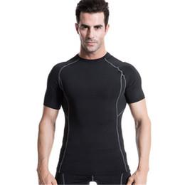 Hombres ajustados pantalones cortos blancos online-Hombres de la marca Running Camisetas White Compression Fitness Sports Medias Gym Blusa Yoga Sport Man's Sportswear Short Sleeves Athletic Shirt