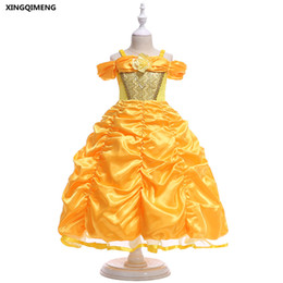 In stock Lovely Yellow Flower Girl Dress for Weddings 3-10Y Abiti da spettacolo per ragazze Paillettes Ball Gown Kids Costumi economici da