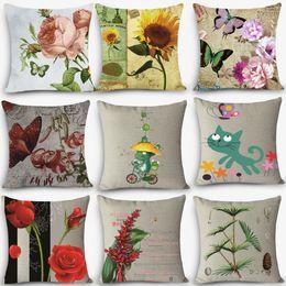 "Wholesale Hot Water Pillow - Wholesale- Hot Sale home deco pillow flower bird Print Home Decorative Cushion Throw Pillow 18"" Vintage Cotton Linen Square Pillows MYJ-B9"