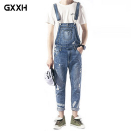 bc5a72121ed 2018 New Mens Bib Overalls Fashion Ankle Length Denim Overalls Men Light  Blue Ripped Jeans Male Denim Jumpsuit Size M-3XL 4XL
