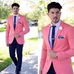 Wholesale Dinner Suits For Men - 2018 Two Piece Wedding Tuxedos for Groom Wear Notched Lapel Pink Jacket Pants Dinner Party Men Suits Custom Made Groomsmen Suit
