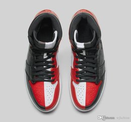 Wholesale Best Arts - Best Quality 1 High OG Homage To Home Banned Chicago Mens Basketball Shoes Sneakers Black Red White Mandarin Duck Trainers Size 7-13