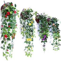 Simulazione Artificiale Hang Baskets Flower Rose finte Vines Wedding Wall Hanging Fogliame Fiori Home Garden Decor 10 35mh ii cheap fake flowers for hanging baskets da fiori falsi per cestini appesi fornitori
