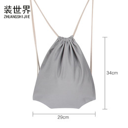 drawstring backpack children Promo Codes - 29*34cm Canvas Drawstring Bags School Book Backpack Bag For Children Girls Boys String Folding Storage Bags Christmas Gifts