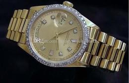Reloj de hombre 18k diamante online-Reloj de pulsera de lujo vendedor caliente 18k oro amarillo Diamante Dial Bisel 18038 Reloj automático para hombre Relojes para hombres Relojes