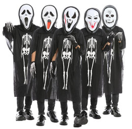 Canada Enfants Crâne Squelette Fantôme Vêtements + Crâne Diable Masque Gants Cosplay Costume Hommes Femmes Enfants Halloween Carnaval Masquerade Offre