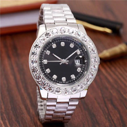 Wholesale Men Green Diamond Watches - relogio Gold Luxury Men Automatic Iced Out Watch Mens Brand Watch Daydate President Wristwatch Red Business Reloj Big Diamond Watches Men