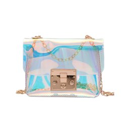 Wholesale Transparent Tote Bags Wholesale - Women Transparent Bag Clear PVC Jelly Small Tote Messenger Bags Laser Holographic Shoulder Bags Female Lady Sac Femme Bandoulier