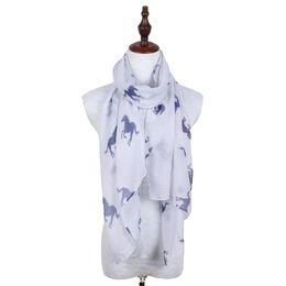 Wholesale Hijab New Design - Lightweight White Horse Animal Polyester Printing Women Long Scarf New Fashion Design Hijab Shawl Wrap 180*60cm