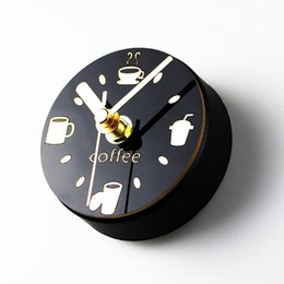Wholesale Wall Coffee Clocks - Fridge Sticker Coffee Kitchen Clock Sweep Magnet Clocks Refrigerator Watch Reloj de Pared Wall Clock